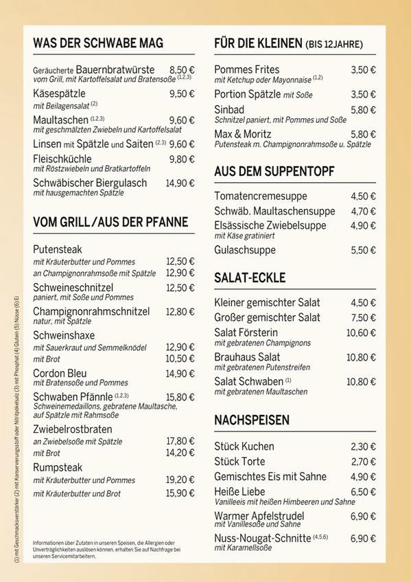 Speisen für  Neuenstadt (Kocher)